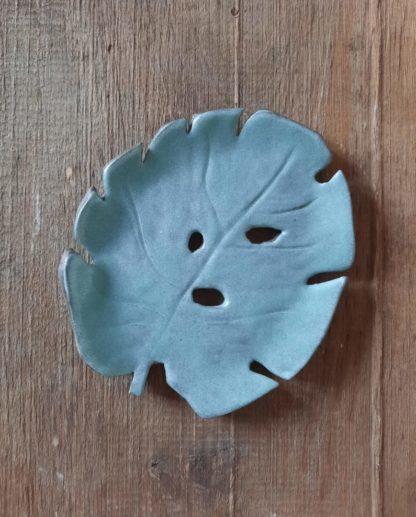 Liść ceramiczny, turkus, ceramiczny, ceramika, monstera, ręcznie - Artiszok