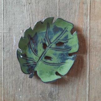 Talerzyk ceramiczny, liść, monstera, ręcznie, prezent - Artiszok