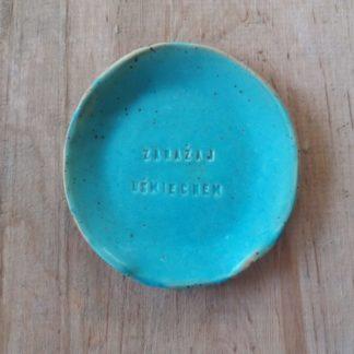talerzyk ceramiczny pod łyżkę, kuchnia, ręcznie, tekst, ceramika - Artiszok