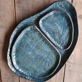 talerz ceramiczny, komplet, koronka, prezent, organiczne - Artiszok