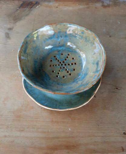 durszlak ceramiczny, truskawki, maliny, ceramika, kuchnia, lato, handmade - Artiszok