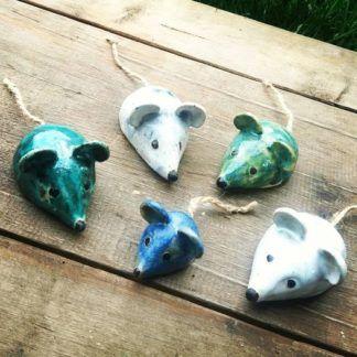 myszka ceramiczna, rękodzieło, kolorowe, ceramika, mysz - Artiszok