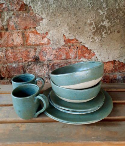 Ceramiczny zestaw, ceramika, talerz miseczka, kuchnia, prezent, rękodzieło - Artiszok