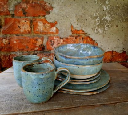 zestaw ceramiczny, śniadanie, rękodzieło, handmade, kuchnia, prezent, talerz, miska,, kubek - Artiszok