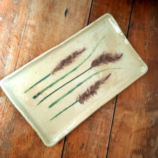 talerz ceramiczny, motyw, rośliny, prostokąt, natura - Artiszok